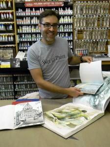 Justin with his Kunst & Papier sketchbooks