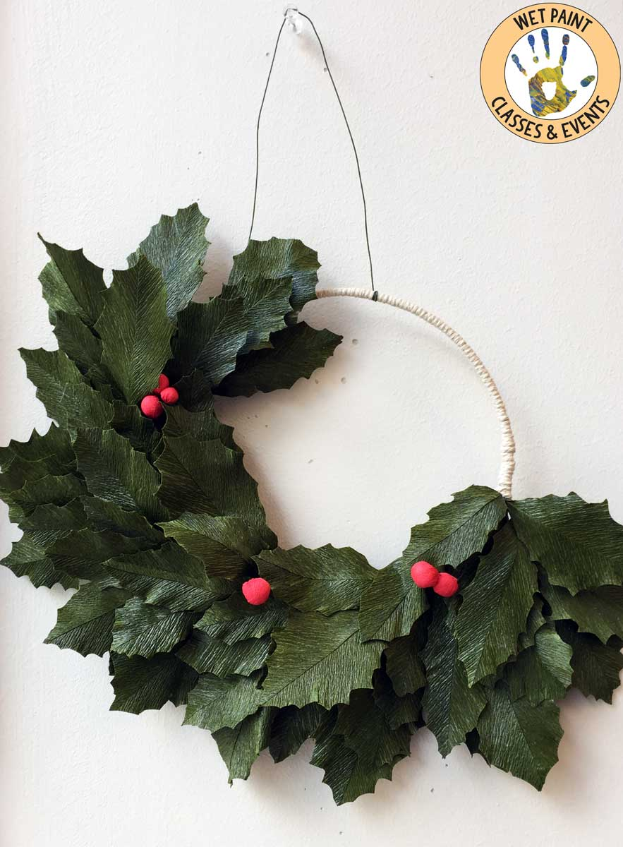 Crepe Paper Flowers Holly And Berries Wreath Workshop Taught By Anna Gaseitsiwe Wet Paint