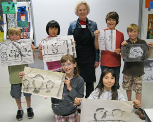Yvonne and students artwork